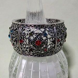 Boho Cuff Bracelet Rhinestones Gypsy